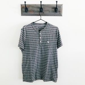 Abercrombie & Fitch Gray White Stripe Henley Top L